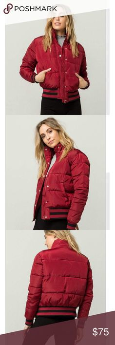 "Women's puffer jacket Puffer Jacket. Quilted puffer jacket. Button and zip front. Ribbed cuffs and hem with athletic stripes. Slanted welt hand pockets. Dry clean only.   Model is wearing a size small. Model measurements: Height: 5'9"" Bust: 32"" Waist: 23"" Hips: 34"" Jackets & Coats"