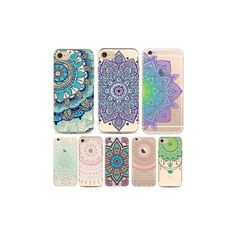 Mandala Soft TPU Phone Cases For iphone 7 Plus 6 6s 5 Creative Mobile... ($4.14) ❤ liked on Polyvore featuring accessories, tech accessories and white