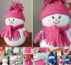 DIY Easiest Snowman from Styrofoam ball with your kids.  Check tutorial--> http://bit.ly/1t4s00B