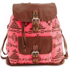 Tribal Print Canvas Backpack (2,230 INR) ❤ liked on Polyvore featuring bags, backpacks, accessories, bolsas, purses, brown, embroidered backpacks, brown canvas backpack, drawstring flap backpack and drawstring backpack