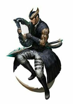 m Tiefling Bard Light Armor Harp Sword male Erza by Noxypia DeviantArt med Fantasy Heroes, Fantasy Races, Fantasy Warrior, Fantasy Rpg, Medieval Fantasy, Dungeons And Dragons Characters, Dnd Characters, Fantasy Characters, Fantasy Portraits