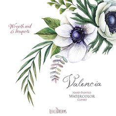 Matrimonio acquerello corona & mazzi di fiori fiori di