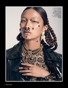 1980′s Givenchy earrings and 1940′s Napier necklace from Featherstone Vintage. Citizen K Vietnam . Photography: Andy Long Hoang Hair and Make up: Nicolas Blanchet Folio Montreal Styling: Tinashe Musara @ Folio Face jewelry: Atelier Vingt Quatre Retouching: Atelier Vingt Quatre Model: Pamela @ Montage Assisting: Stephanie Habre