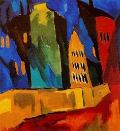 Karl Schmidt-Rottluff - Houses at night, 1912.