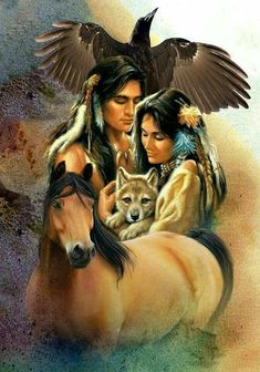 Native American Indian with wolves Native American with wolves Native American Warrior, Native American Paintings, Native American Pictures, Native American Wisdom, Native American Beauty, Native American Tribes, American Indian Art, American Indians, Indian Pictures