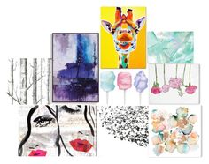 """""""artwork"""" by itsrenaesmith on Polyvore featuring Oliver Gal Artist Co., Trademark Fine Art, Grandin Road and Cole & Son"""