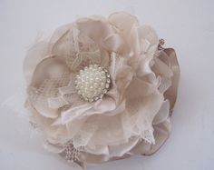 Shades of Champagne Ivory and Lace Wedding Flower Hair Clip Bride, Mother of the Bride, Bridesmaids Prom with Pearl and Rhinestone Accent