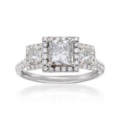 Ross-Simons - 1.96 ct. t.w. Diamond Ring in 18kt White Gold. Size 6 - #785451