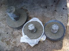 Concrete mushrooms in the making by mushy girl, South Carolina :), via Flickr