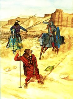 Oriental Roman Cataphract (the one with the shield) defending an auxiliary signifer by a sasanid ciblinari attach.