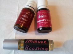 Immune Boosting Rollon 25 drops of Thieves essential oil and 25 drops of ImmuPower essential oil to a roll on bottle. Top up with a carrier oil such as olive oil, almond oil, YL v6 oil. Then shake and rub on the feet or the back at least 2 times a day. If you don't have ImmuPower, just use Thieves. Oregano is also a good oil to use for the immunity.