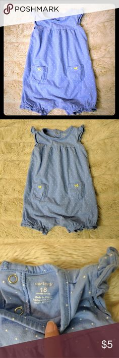 Carter's Baby Blue Romper Baby blue romper with white polka dots and two yellow ribbon bows on front pockets. Cute outfit for any baby or toddler. Like new condition Carter's One Pieces Bodysuits