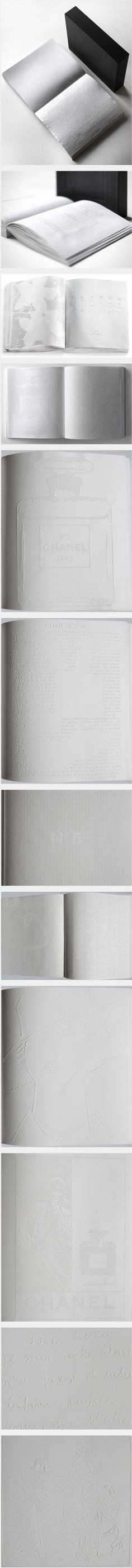 Irma Boom book for Chanel that contains no ink. All pages were embossed using aluminum plates and an old letterpress.