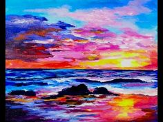 Learn to paint a sunset and ocean full acrylic painting lesson #coloroftheyearart - YouTube