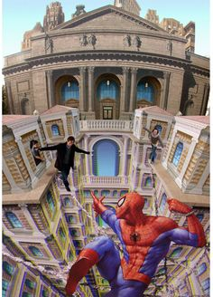 Awesome Street Art : 3D Optical illusion by Kurt Wenner  This is chalk art on a sidewalk.  i think kurt wenner is the inventor of this kind of chalk art.