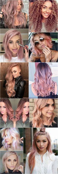 Cabelos coloridos: A tendência de cor para 2016 e 2017 é o Loiro Rosé (ou rose gold hair), quase um ouro rosé ou um rosa envelhecido pastel. A cor foge dos loiros platinados e acinzentados, dando mais vida e alegria. Combina com todos os tons de pele e tipos de cabelo. Vejam o cabelo cacheado loiro rosé como ficou lindo, eu amei. #LoiroRosé #RoseGold #CabelosColoridos
