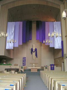 purple banners for lent - add Jerusalem Cross at bottom