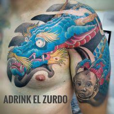 Dragón oriental azul
