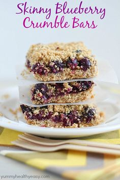 These Skinny Blueberry Crumble Bars have everything you want in a breakfast treat - a delicious crust, a layer of blueberries & a crumbled oat topping. Yum!