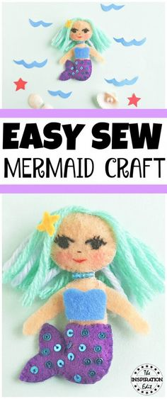 Mermaid Sewing Craft for Kids. This is a super easy sewing craft for kids that is fun and simple. Visit the tutorial today. #sewing #sewingpattern #sewingtutorial #sewingprojects #mermaid #sewmermaid #sew