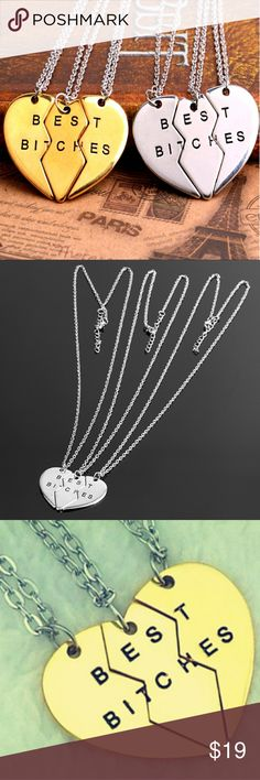👩❤️👩Best Bitches 3 Piece Heart Neckless! 👩❤️👩Best Bitches 3 Piece Heart Break Away Necklace! New Best Bitches 3 Piece Break Away Heart Pendant Necklace With Chain. SUCH AN AWESOME NECKLACE!  2 Colors Available -  Gold & Silver  🌹BRAND NEW IN PACKAGE-BNIP 🌹HIGHEST QUALITY PRODUCTS 🌹SAME DAY SHIPPING 🌹NO TRADES 🌹OFFERS ACCEPTED THROUGH THE OFFER BUTTON  🚫PLEASE FOLLOW CLOSET  RULES! I DO NOT TOLERATE RUDE BEHAVIOR IN MY BOUTIQUE PLEASE BE RESPECTFUL! @shopaprilsboutique.com Shop…