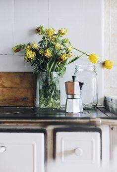 Fresh flowers in a mason jar.