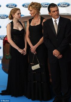 Full-length glamour: 16 year old Stella del Carmen with her mother and father, Melanie Griffith and Antonio Banderas  at the Starlite Charity Gala in Marbella