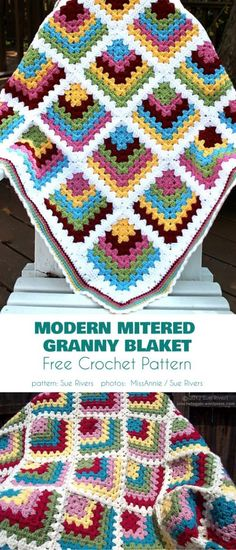Modern Mitered Granny Square Blanket Free Crochet Pattern Easy to make with a lots of possibilities for you to discover. A perfect project for beginners. granny square Modern Mitered Granny Square – Free Pattern and Video Tutorial Granny Square Pattern Free, Granny Square Häkelanleitung, Granny Square Projects, Granny Square Crochet Pattern, Crochet Blocks, Afghan Crochet Patterns, Crochet Squares, Free Pattern, Baby Granny Square Blanket