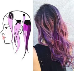 Funky Hairstyles, Pretty Hairstyles, Hair Color Placement, Pulp Riot Hair Color, Colored Hair Tips, Hair Color Techniques, Corte Y Color, Cool Hair Color, Purple Hair