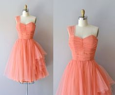 Mignonette dress • vintage 1950s dress • coral tulle 50s dress on Etsy, $325.00