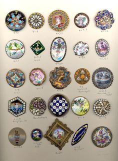 Enamel Buttons - Assorted Techniques OMG I just love buttons-don't know why Button Cards, Button Button, Types Of Buttons, Sewing A Button, Sewing Notions, Vintage Buttons, Pin Cushions, Vintage Sewing, Sewing Crafts