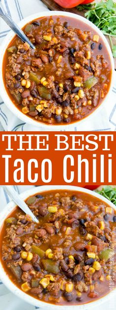The perfect Taco Chili! One of my favorites! The perfect Taco Chili! One of my favorites! Best Chili Recipe, Chilli Recipes, Mexican Food Recipes, Beef Recipes, Soup Recipes, Healthy Recipes, Supper Recipes, Delicious Recipes