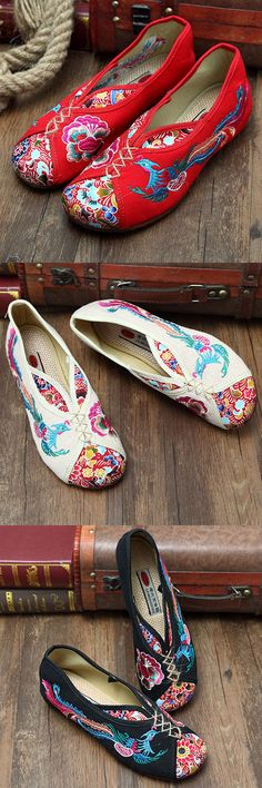 US$11.93  Phoenix Embroidered Old Peking Vintage Flat Shoes_Folk Style Flats_Vintage Buttons Ideas