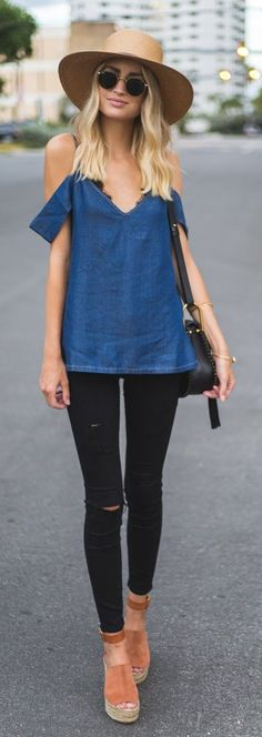 #spring #outfits Brown Hat + Chambray Tank + Black Skinny Jeans