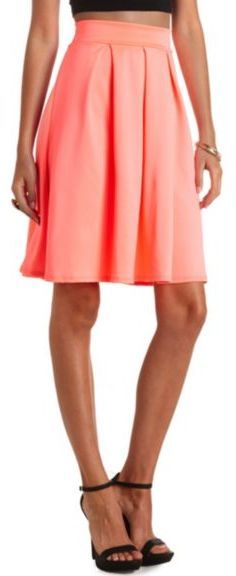 Charlotte Russe Pleated High-Waisted Full Midi Skirt on shopstyle.com