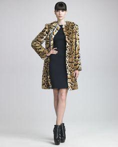 Faux-Fur Leopard-Print Coat & Strappy-Back Sheath Dress by Blumarine at Neiman Marcus.