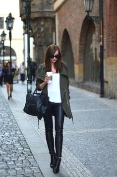 Waterfall front olive green parka, white tee, black leather leggings/jeans, ankle boots