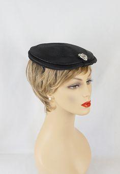 29fd88259813f Vintage 1940s Hat Black Rhinestones G Howard Hodge Body Made In France