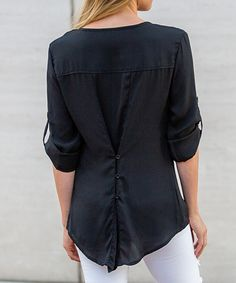 Love this Amaryllis Black Convertible Button-Front Top by Amaryllis on #zulily! #zulilyfinds