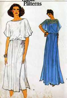 Gorgeous angel cape sleeves in a midi or maxi length length dress - adore this vintage Vogue sewing pattern 1970s