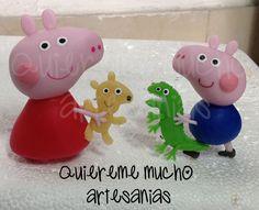 PEPPA PIG TEDDY GEORGE Y EL SR. DINOSAURIO PORCELANA FRIA