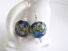 Blue with Yellow and Green Lampwork and by Joannsfortheluvofit, $15.00