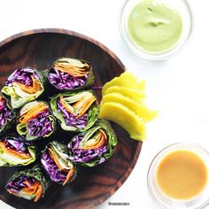 Veggie nori rolls for lunch with leftover avocado cilantro lime dressing and real peanut butter yuzu dipping with Young Living Lime and Yuzu essential oils.