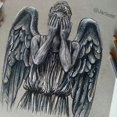 ⚠ DON'T BLINK! ⚠  My finished Artwork of a Weeping Angel #doctorwho  #art #geronimo #drawing #pencils #artist #artwork