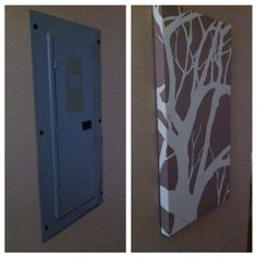 before & after. cover electrical boxes. | apartment decorating rental,  apartment decorating hacks, apartment decorating on a budget  pinterest