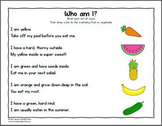 Fruit and Vegetable Worksheets for Kindergarten and First Grade - Mamas Learning Corner Worksheets For Class 1, 2nd Grade Worksheets, Science Worksheets, Photosynthesis Activities, Free Worksheets, Kindergarten Lessons, Kindergarten Worksheets, Fruit Song, Fruit Fruit