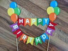 Rainbow balloon cake bunting, Circus Cake Bunting, balloon themed Decoration, First Birthday, Happy Birthday Cake Topper This Rainbow balloon cake bunting is perfect for a first Birthday, Circus Themed Event or as decoration for any party! Made from single sided card stock mounted on