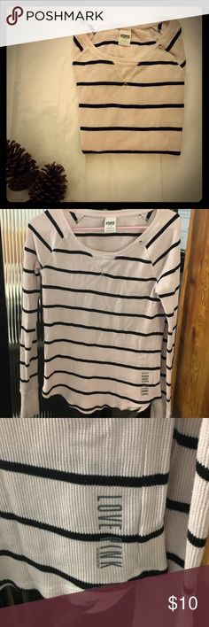VS Pink Thermal Shirt Baby pink with black stripes • 60% cotton, 40% polyester • Gently used • Size large, but fits more like a small • PINK Victoria's Secret Tops Tees - Long Sleeve