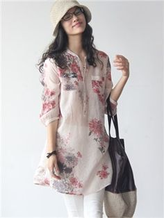 Ericdress Loose Single-Breasted Printed Blouse