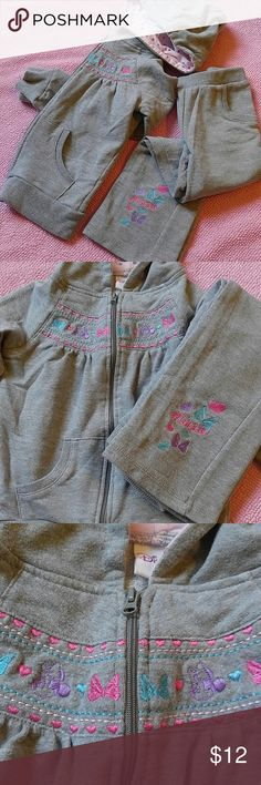 Minnie Mouse sweatsuit set Embroidered with Minnie and bows, this sweatsuit is as cute as it is warm! It has a sweet pink heart print lining in the hood too. Size 6 and made by Disney, it is in great condition. Disney Matching Sets